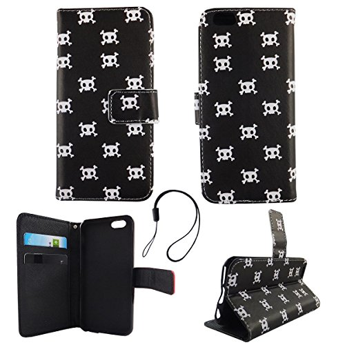 König-Shop Wallet Case Kunstlederhülle für Apple iPhone 6 / 6s - Cover Flip Tasche in Totenkopf Design mit Kartenfach und Ständerfunktion