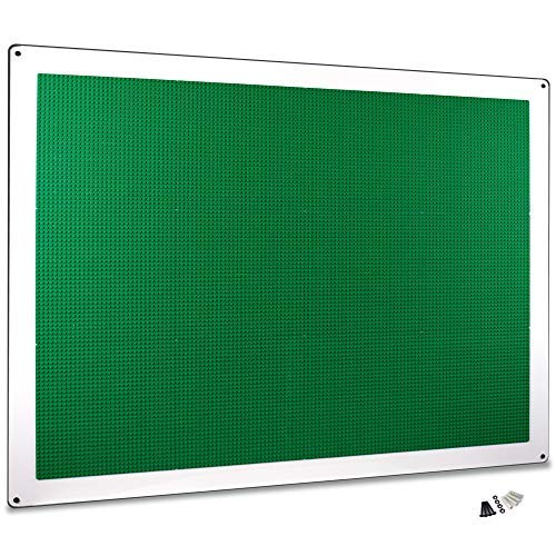 Creative QT Play-Up Wall Panel - XL Building Brick Play Wall - Pre-Assembled - Compatible with All Major Brands of Interlocking Blocks - Vertical Building Surface - Green - 34 inch x 44 inch