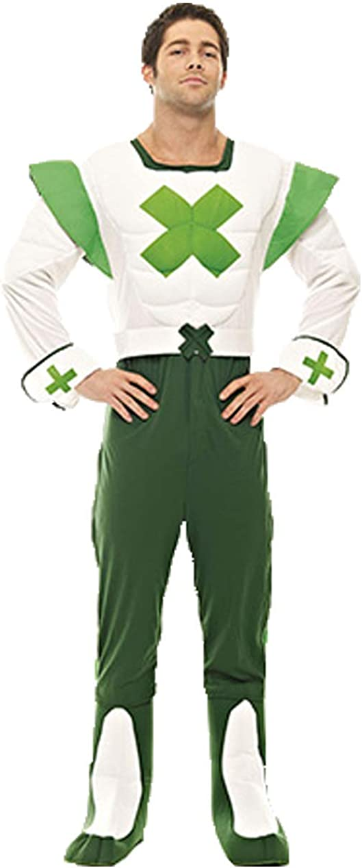 Mens Green Cross Code Man Superhero 70s 80s Fancy Dress Costume