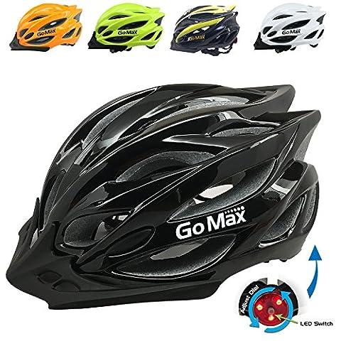 GoMax Aero Adult Safety Helmet Adjustable Road Cycling Mountain Bike Bicycle Helmet Ultralight Inner Padding Chin Protector and visor w/ Rear LED Tail Light adjust (Shiny Black with LED, - Folding Bike Helmet