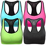 MIRITY Women Racerback Sports Bras - High Impact Workout Gym Activewear Bra Color Black Blue Pink Green Size S