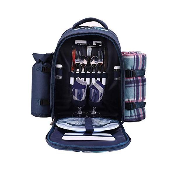 51qYQUzsvFL apollo walker Picknickrucksack für 4 Personen mit Fleece-Decke und Kühlfach (Blau)