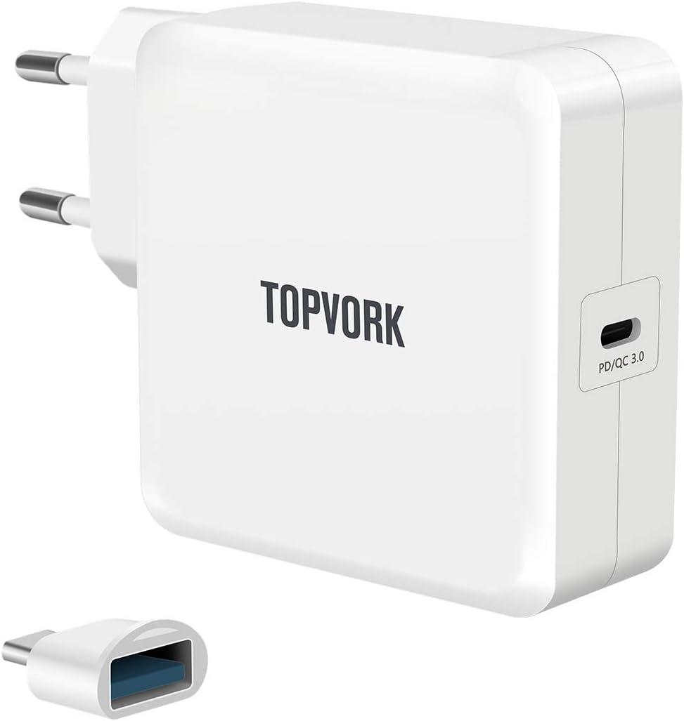 TOPVORK PowerPort I USB-C 65W Cargador de alimentación USB con 1 puerto USB Tipo-C Entrega de energía 3.0 para MacBook, Dell, Xiaomi Air, Huawei Matebook, HP Spectre, Thinkpad, Laptop Typ C, teléfonos