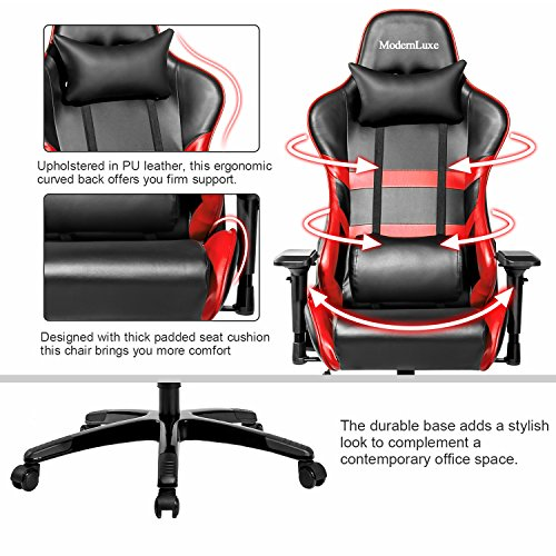 Merax High Back Computer Chair Ergonomic Design Racing Gaming Chair  Reclining Chair Home Office Chair (Red)