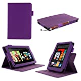 rooCASE Dual-View Multi Angle (Purple) Folio Case Cover for Amazon Kindle Fire 7-Inch Android Tablet (NOT Compatible with Fire HD)