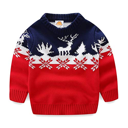 UWESPRING Little Boy Sweater Xmas Cartoon Deer Knit Pullover Christmas Gift 7-8T Red