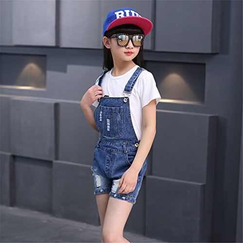 Big Girl's Denim Jumpsuit Boyfriend Jeans Cool Fashion Denim Romper Shortalls 12 Blue by Luodemiss (Image #6)