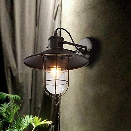 (Lyuez Iron Glass Wall Light Waterproof Garden Light Outdoor Lighting Vintage Balcony Street Light Bird Cage Shape Wall Lamp Industrial Wind Night Light)