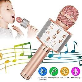 Wireless Bluetooth Karaoke Microphone, 5-in-1 Portable Handheld Karaoke Mic Speaker Player Recorder with Adjustable…