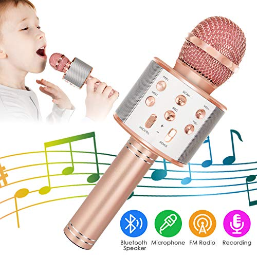 Wireless Bluetooth Karaoke Microphone, 5-in-1 Portable Handheld Karaoke Mic Speaker Player Recorder with Adjustable Remix FM Radio for Kids Adults Birthday Party KTV Christmas (Rose Gold)
