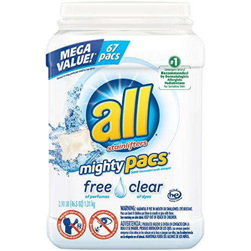 All Mighty Pacs Laundry Detergent  Free Clear For Sensitive Skin  Unscented  Tub  67 Count