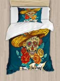 LovingIn 4 Pieces Bedding Sets for Child Twin Size Duvet Cover Set, Mexican Festive Hat Skull with Roses Art Print, 1 Duvet Cover 1 Flat Sheet and 2 Pillowcases