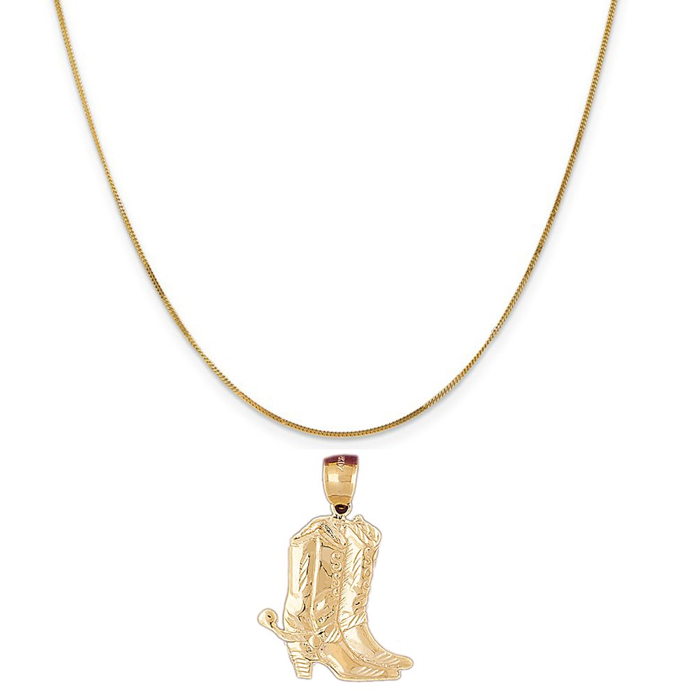 14k Yellow Gold Cowboy Boots Pendant on a 14K Yellow Gold Curb Chain Necklace, 16''