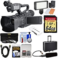 JVC GY-HM200SP Ultra 4K HD 4KCAM Professional Sports Production Camcorder & Top Handle Audio Unit + XLR Microphone + 64GB Card + Case + LED Light Kit