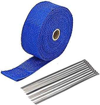 2 x 50 Exhaust Heat Wrap Roll for Motorcycle Fiberglass Heat Shield Tape with Stainless Ties Blue