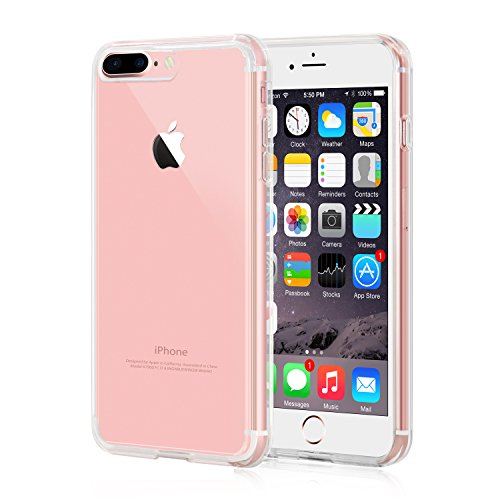 iPhone 7 Plus Case, iXCC Crystal Clear Cover Case [Shockproof, Scratch Proof] with Transparent Hard Plastic Back Plate and Soft TPU Gel Bumper - Clear - Transparent Clear Phone Cover