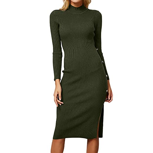 a5b1a587017 Star wuvi Women Sexy Side Buttoned Split Sweater Dresses Fall Winter Long  Sleeve Solid Button Knitted Pullover