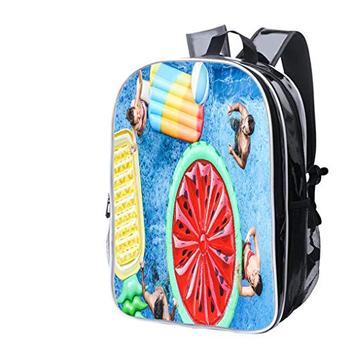 High-end Custom Laptop Backpack-Leisure Travel Backpack Happy Friends Playing with Ball Inside Swimming Pool Young People Water Resistant-Anti Theft - Durable -Ultralight- Classic-School-Black ()
