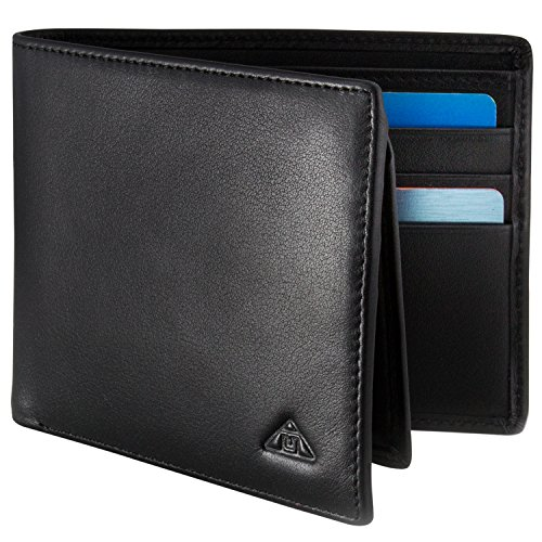 Wave Driver (Motion Trend Men's RFID Wallet - Nappa Leather RFID Blocking Bifold Wallet, Black)