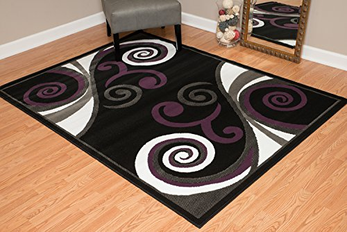 United Weavers of America Dallas Billow Rug - 7ft. 10in. x 10ft. 6in, Jet Black, Jute Area Rug with Scrollwork Pattern. Room Décor (Patios Best Dallas 10 In)