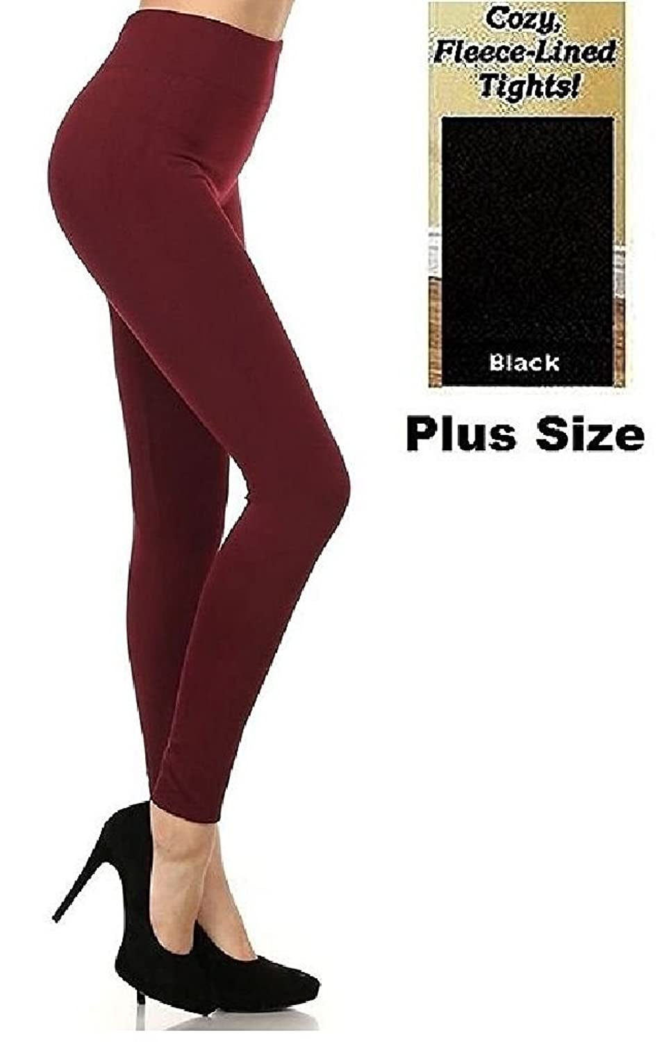 Ponce PLUS SIZE Seamless FOOTLESS Warm Thick Fleece Legging NEW SK300 1X 2X 3X