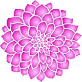 "Dahlia or Zinnia Stencil - (size 5""w x 5""h) Reusable Wall Stencils for Painting - Best Quality Zinnia Grande Flower Ideas - Use on Walls, Floors, Fabrics, Glass, Wood, Terracotta, and More…"