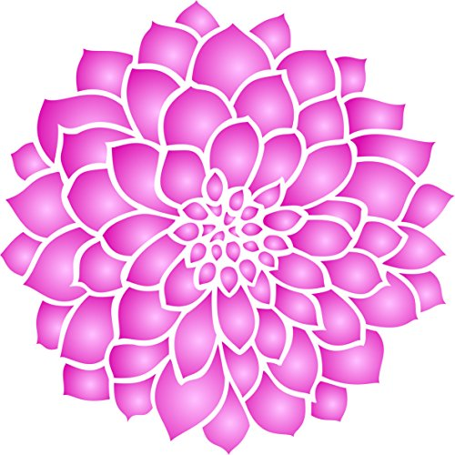 """Dahlia or Zinnia Stencil - (size 5""""w x 5""""h) Reusable Wall Stencils for Painting - Best Quality Zinnia Grande Flower Ideas - Use on Walls, Floors, Fabrics, Glass, Wood, Terracotta, and More… by Stencils for Walls"""