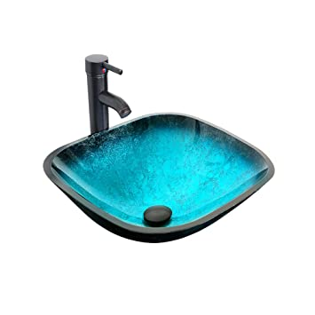 Pleasant Eclife 16 5 Turquoise Square Bathroom Sink Artistic Tempered Glass Vessel Sink Combo With Faucet 1 5 Gpm And Pop Up Drain Bathroom Bowl A10 Square Download Free Architecture Designs Embacsunscenecom