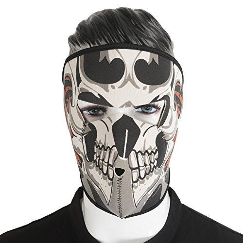 Unique Homemade Couples Halloween Costumes (Graphic Style Skull Assassin Black Neoprene Adjustable 2 in 1 Reversible Full Face Mask Motorcycle Snowboard Ski)