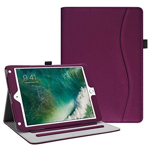 (Fintie iPad 9.7 2018 2017 / iPad Air 2 / iPad Air Case - [Corner Protection] Multi-Angle Viewing Folio Cover w/Pocket, Auto Wake/Sleep for Apple iPad 6th / 5th Gen, iPad Air 1/2, Purple)