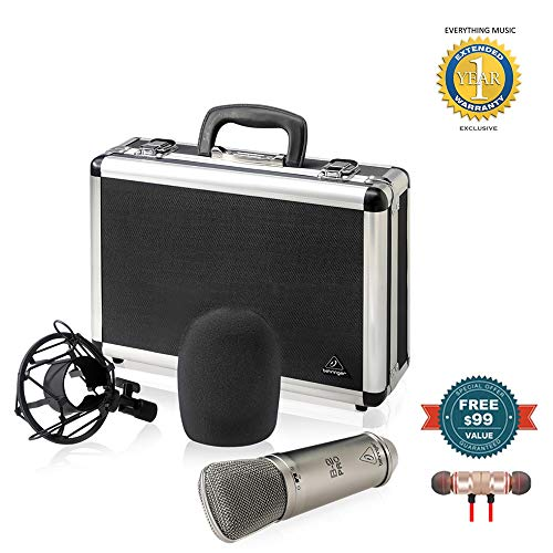 (Behringer B-2 Pro Large Diaphragm Multi-Pattern Studio Condenser Microphone includes Free Wireless Earbuds - Stereo Bluetooth In-ear and 1 Year EverythingMusc Extended Warranty)