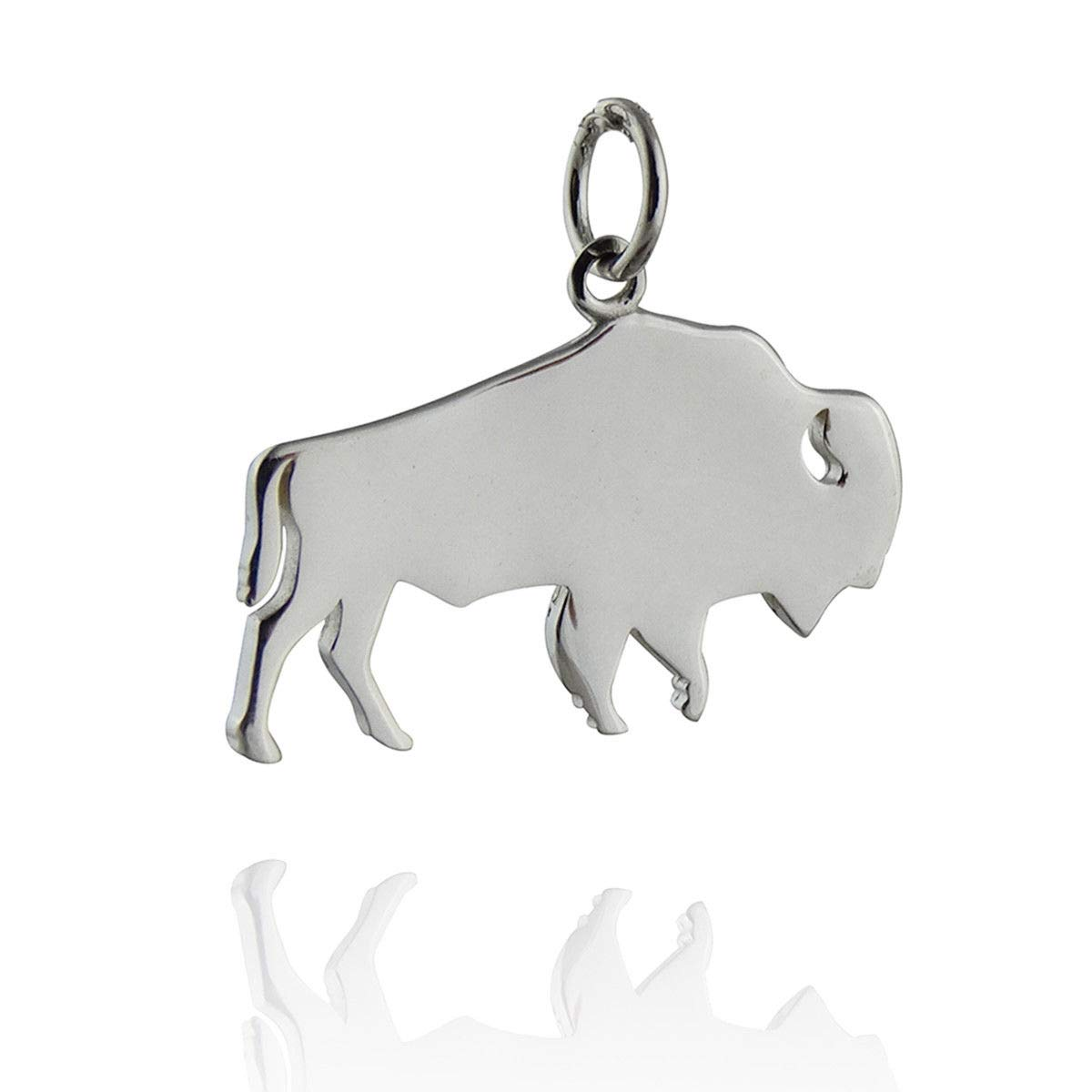 Buffalo Silhouette Charm - 925 Sterling Silver - Pendant Wild Animal Bison - Jewelry Accessories Key Chain Bracelets Crafting Bracelet Necklace Pendants