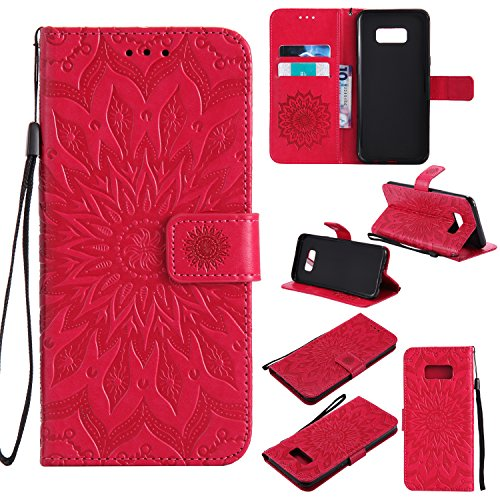 Price comparison product image Galaxy S8 Plus Wallet Case,A-slim Totem Sun Floral Flower Pattern Embossed PU Leather Magnetic Flip Cover Card Holders & Hand Strap Wallet Purse Case for Samsung Galaxy S8 Plus - Red