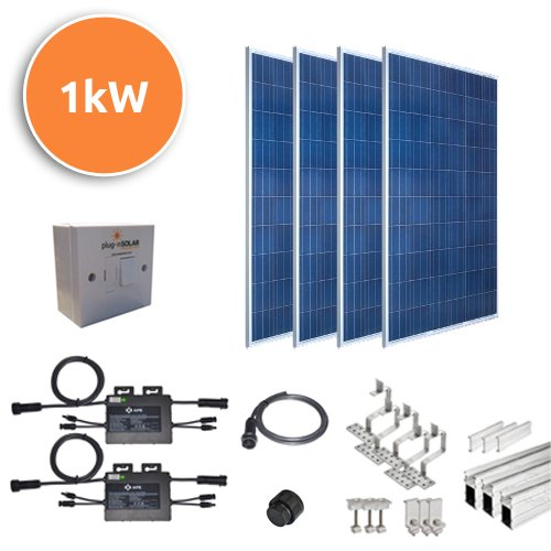 Plug-In Solar 1kW Tile or Slate DIY Solar Power Kit with Roof Mount 1000W