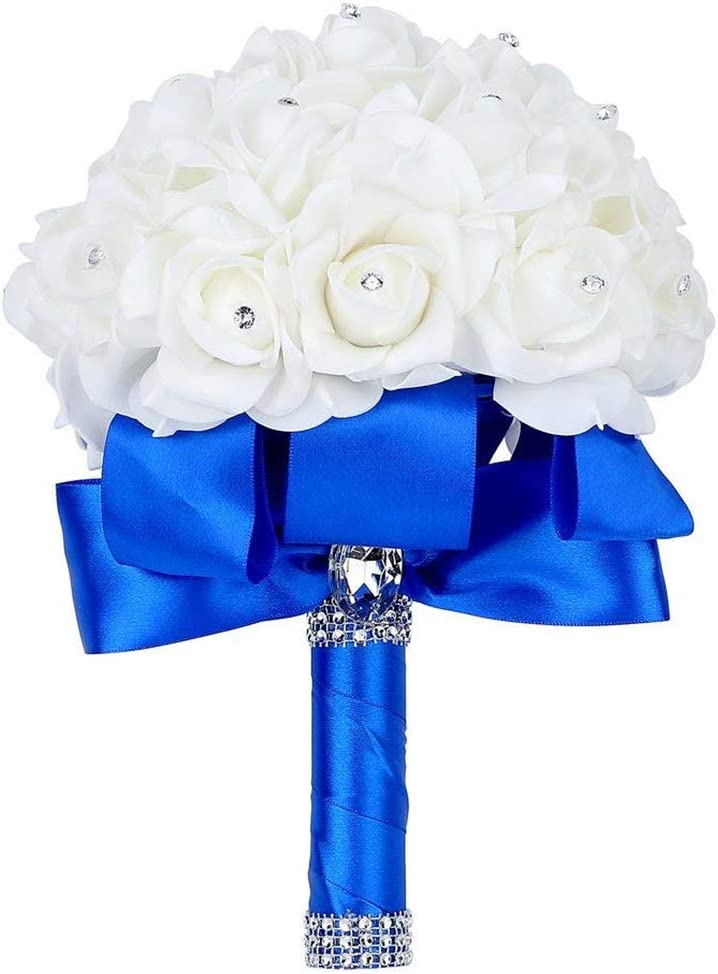 RoyalBlue Party Grace Florist Wedding Bouquet Crystal Pearl Silk Rose Bridesmaid Bouquet Faux Bridal Bouquet Artificial Flowers for Wedding