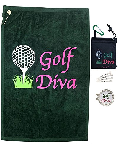 Giggle Golf Par 3 - Golf Diva Towel, Tee Bag And Bling Ball Marker With Hat Clip - Perfect Golf Gift For Women -