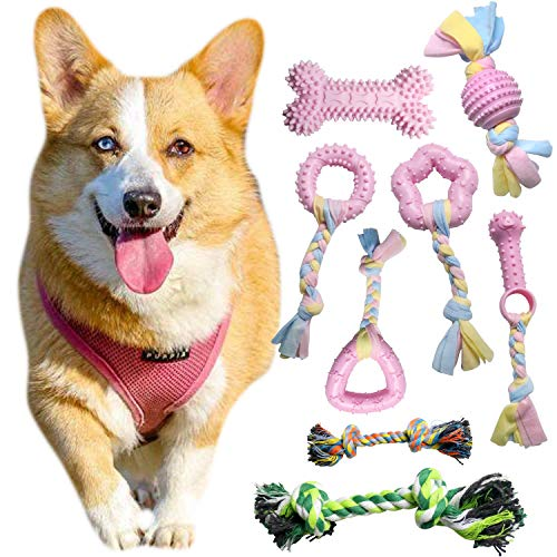 Bac-kitchen 6 + 2 Pcs Puppy Chew Toys Set, Cute Safe Rope Toys Teeth Clean Toys Set with Cotton and Rubber for Small Dogs, Washable Cotton Rope Dog Toy (Pink)