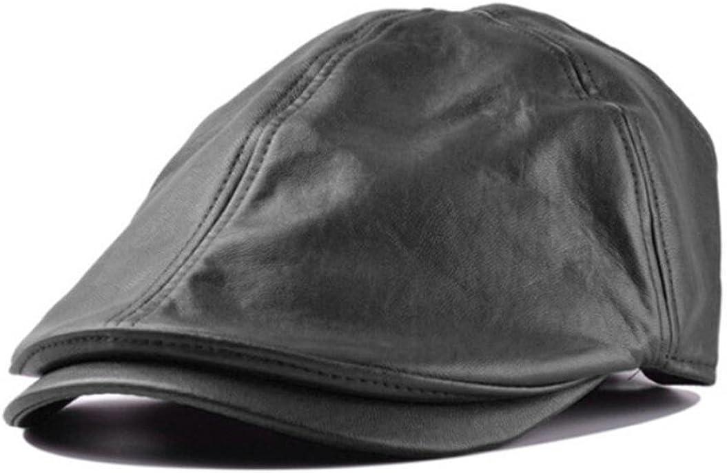 Voberry Men Womens Retro Leather Beret Cap Newsboy Ivy Cabbie Driving Flat Hat Cap
