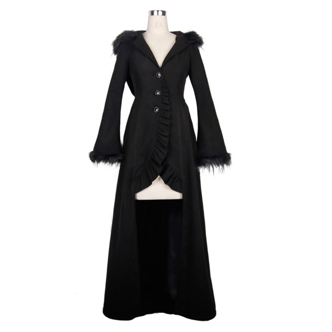 Kulee Punk Winter Women Witch Cosplay Long Fur Hooded Tailcoat XS