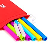 Big Reusable Straws for Smoothies and for 30 oz Tumbler Yeti/Rtic – 6 Straight Wide Reusable Straws + 2 Brushes + 1 Red Storage Pouch – Reusable Drinking Straws Set – Silicone Straws Bundle Review