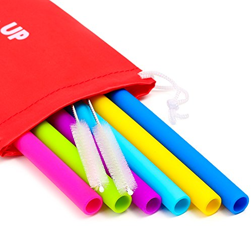 - Big Reusable Straws for Smoothies and for 30 oz Tumbler Yeti/Rtic - 6 Straight Wide Reusable Straws + 2 Brushes + 1 Red Storage Pouch - Reusable Drinking Straws Set - Silicone Straws Bundle