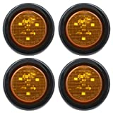 "2"" ""PEAKTOW Round LED Submersible Marker Lights Front Side Rear Marker Indicators. Light for Car, Truck, Van, Trailer, RV, Boat, Taillight Brake Stop Lamp 12V with Grommets and Plugs (4pcs Amber)"