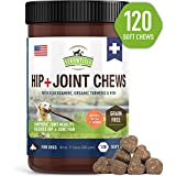 Glucosamine for Dogs - Dog Joint Supplement Chews, Glucosamine Chondroitin MSM + Turmeric -120 Grain Free Dog Treats Made in USA Only - Hip and Joint Support for Dogs Arthritis Pain Relief, Dysplasia