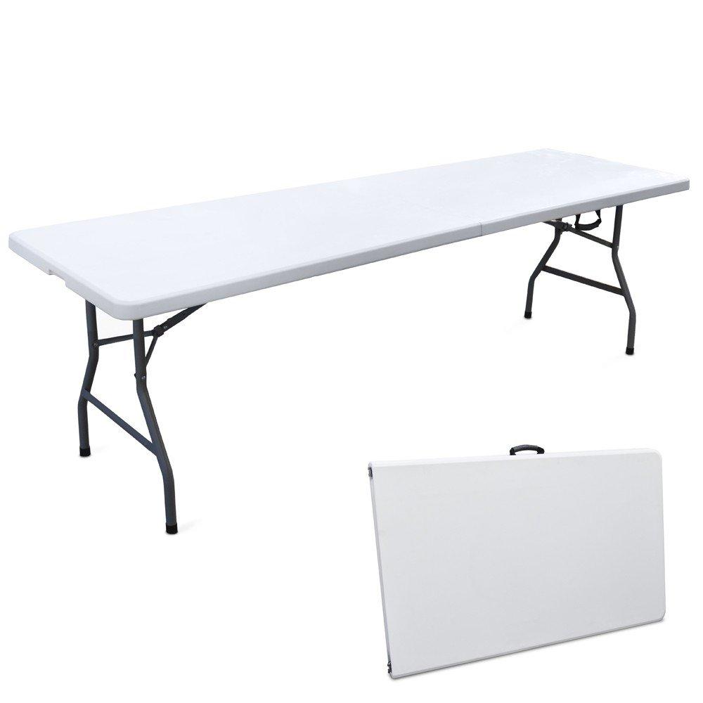Tavolo 244x76cm resina metallo richiudibile a valigia pieghevole picnic EG45064 Evergreen
