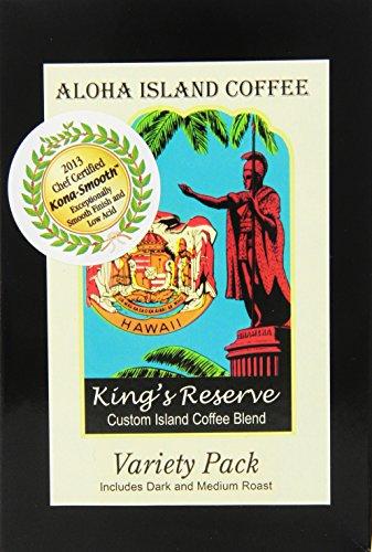 Blend Island Aloha Estate - Aloha Island Kona Smooth Variety Pack of Kings Reserve Hawaiian Blend Coffee Pods, 18 Pods