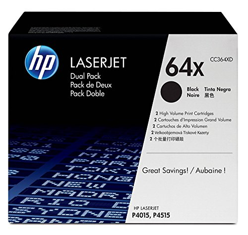 HP 64X (CC364X) Black Toner Cartridge High Yield, 2 Toner Cartridges (CC364XD) by The Original HP Products
