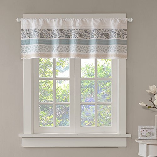 "Dawn Printed Blue Window Valance , Cotton Pieced Rod Pocket Print Floral Valances for Windows , 50X18"" , Teal"