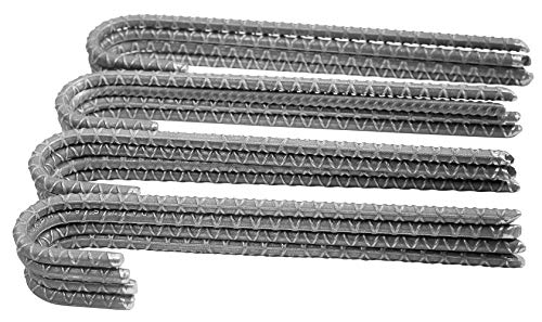 Pinnacle Mercantile Rebar Stakes J Hook Heavy Duty Steel Ground Anchors 12 inch Chisel Point End (16-Pack)