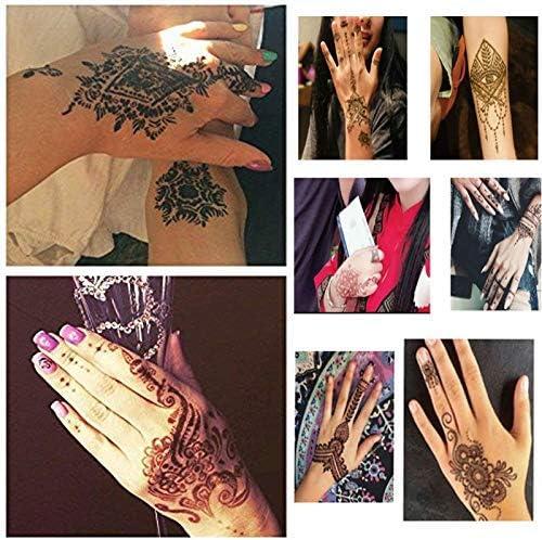 Xmasir Kit de plantillas de tatuaje de henna, templos de tatuajes ...