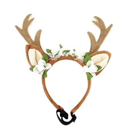 Diadema de Navidad para perros y gatos con diseño de renos con flores Labrador Halloween disfraces
